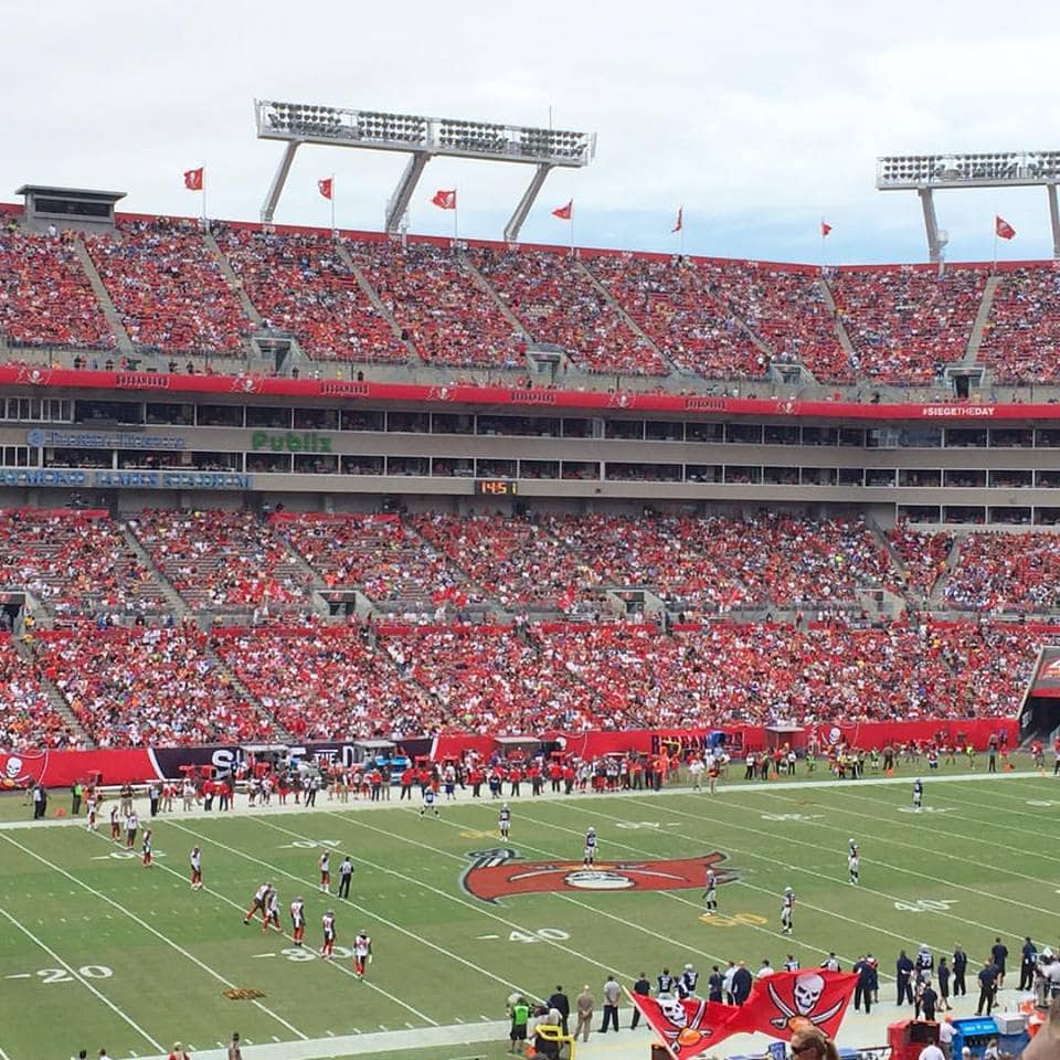 Tampa Bay Buccaneers Game at Raymond James Stadium | Tampa Florida Travel Guide | Marry Me on A Megabus Giveaway | Affordable Travel Options | Florida Travel Blogger Ashley Brooke Nicholas |