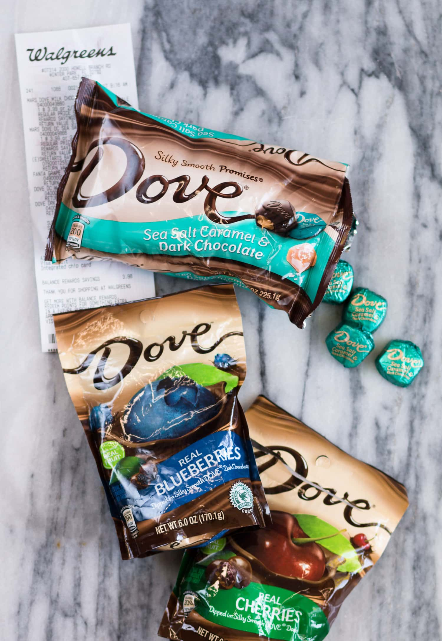 Dove sea salt caramel and dark chocolate squares + chocolate-covered blueberries and chocolate-covered cherries + Dove chocolate coupon at Walgreens