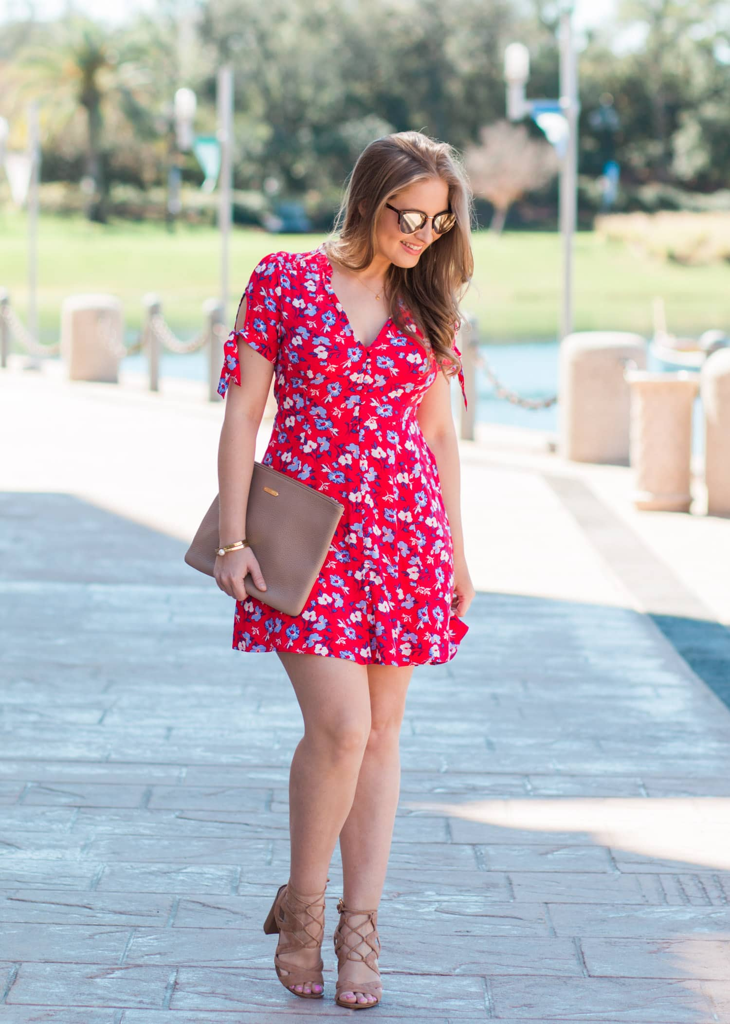 red floral dress sunglasses nude heels outfit