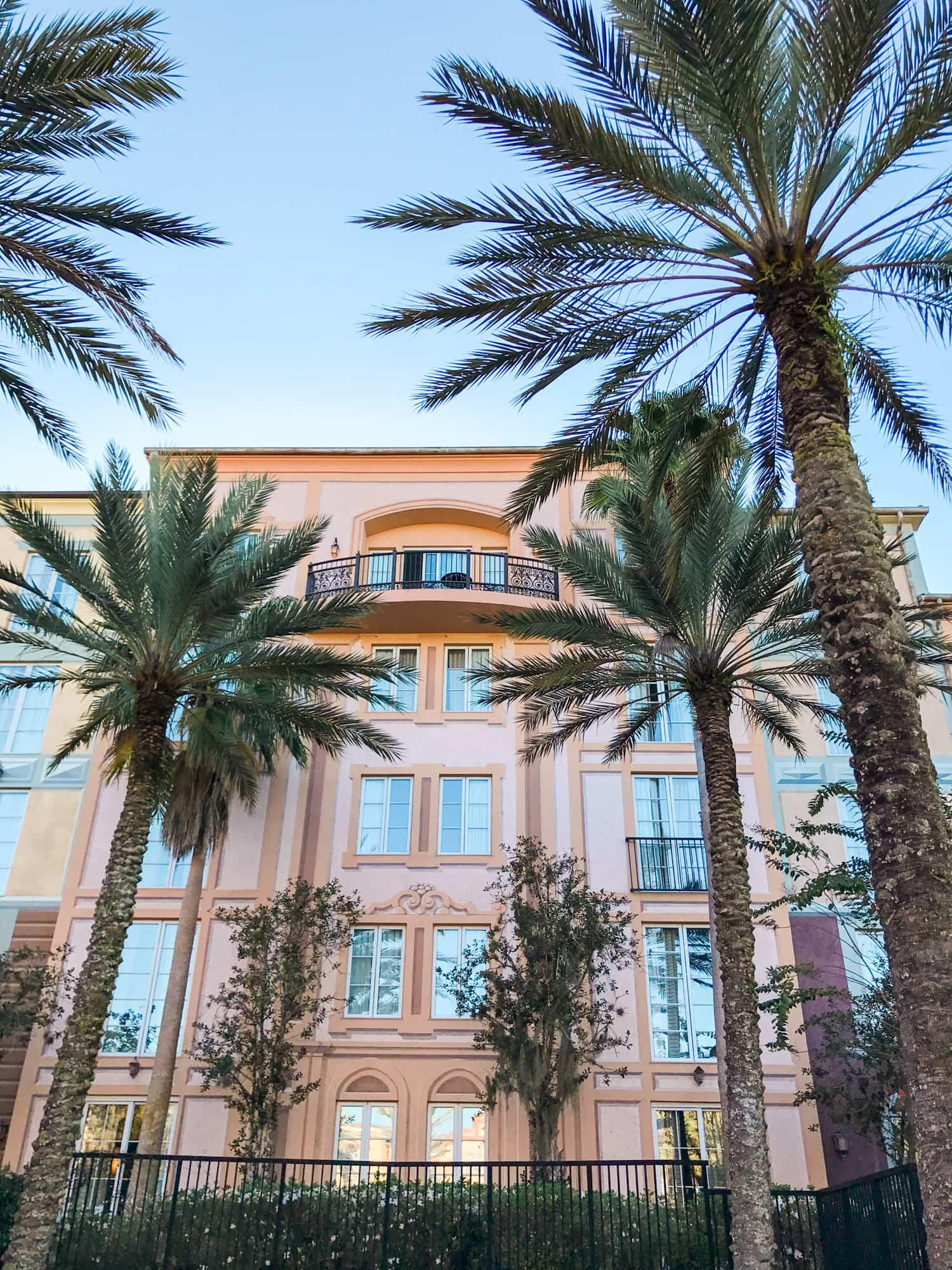 Portofino Bay palm trees hotel resort at Universal Orlando Florida