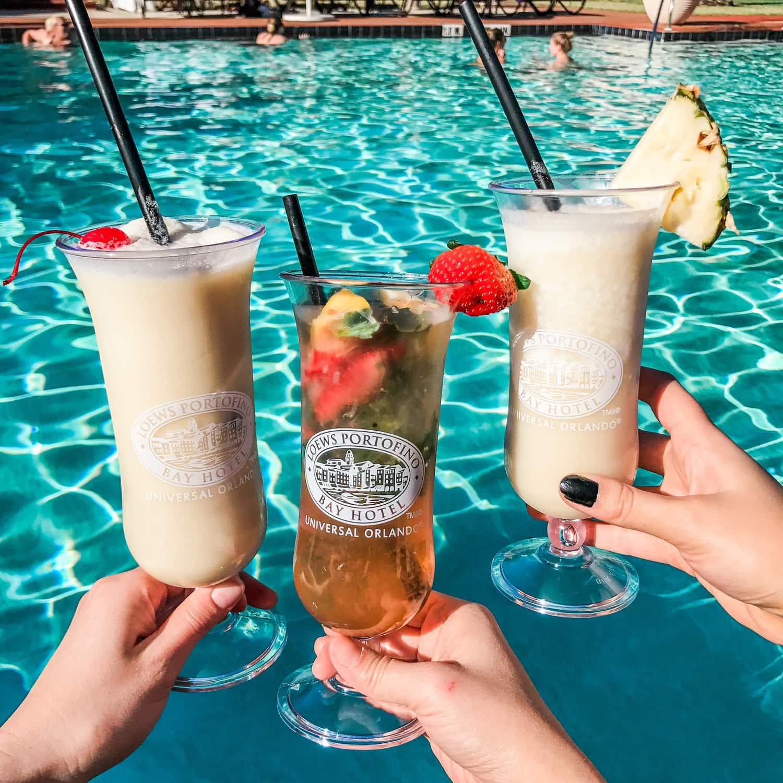 Drinks at pool at Universal resort Portofino Bay hotel Orlando Florida review