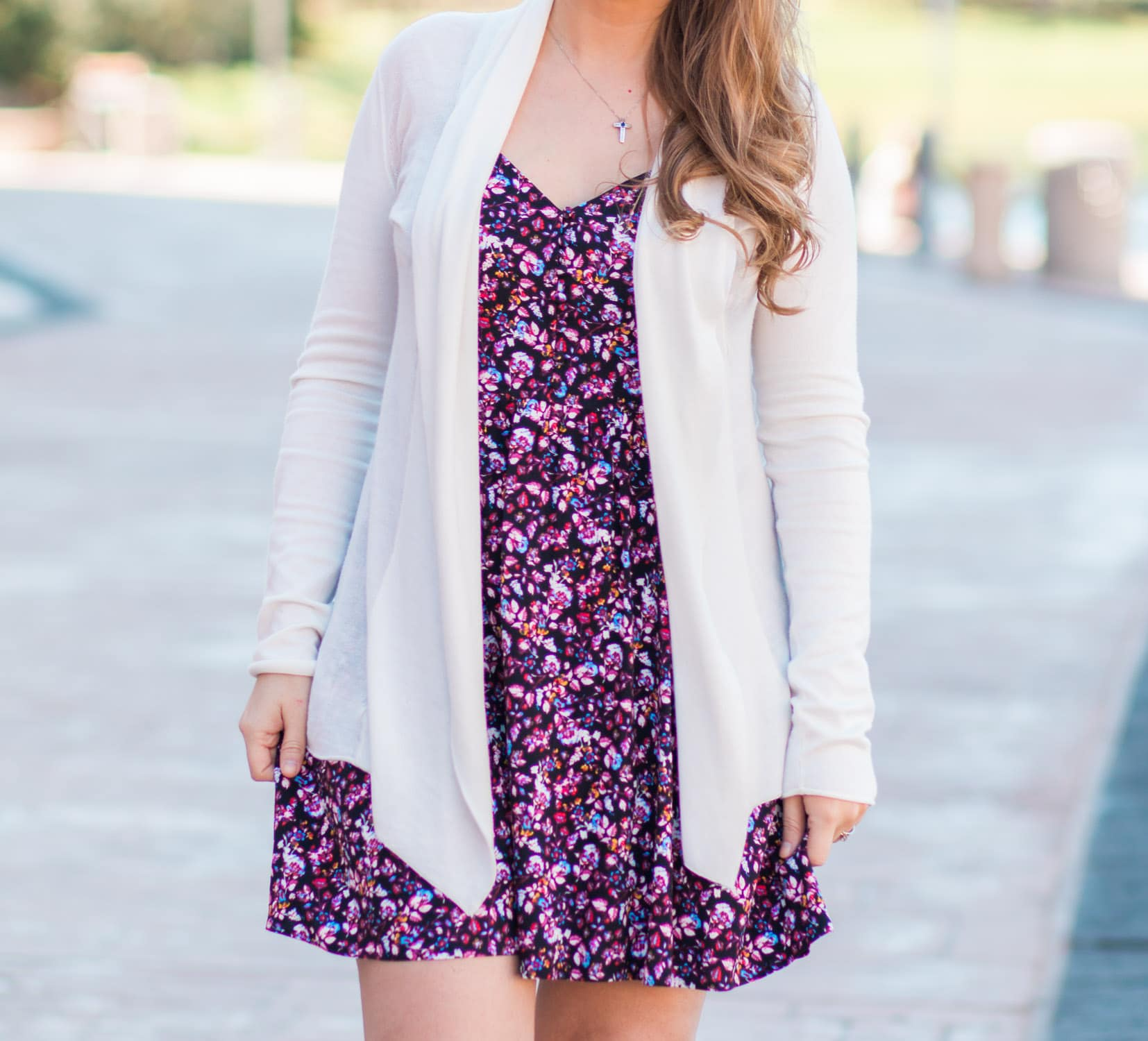 Spring outfit floral dress with cardigan