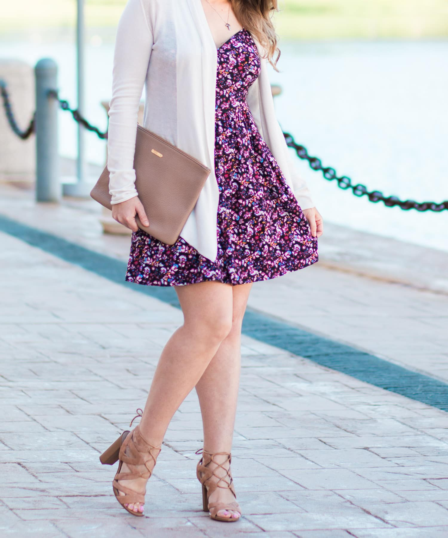 Spring floral fashion outfit walking Orlando