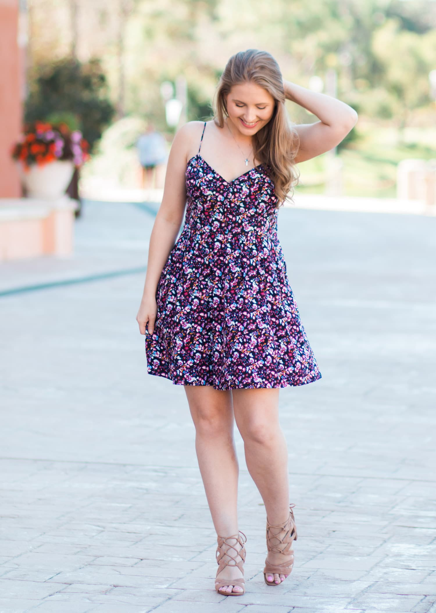 Spring fashion floral dress outfit