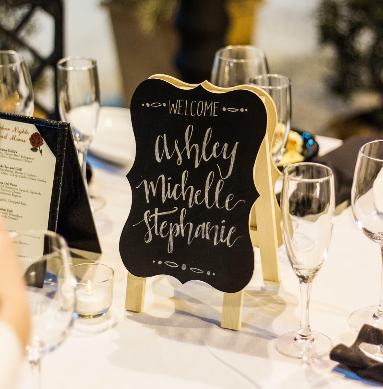Chalkboard blogger names at dinner at Portofino Bay Orlando resort