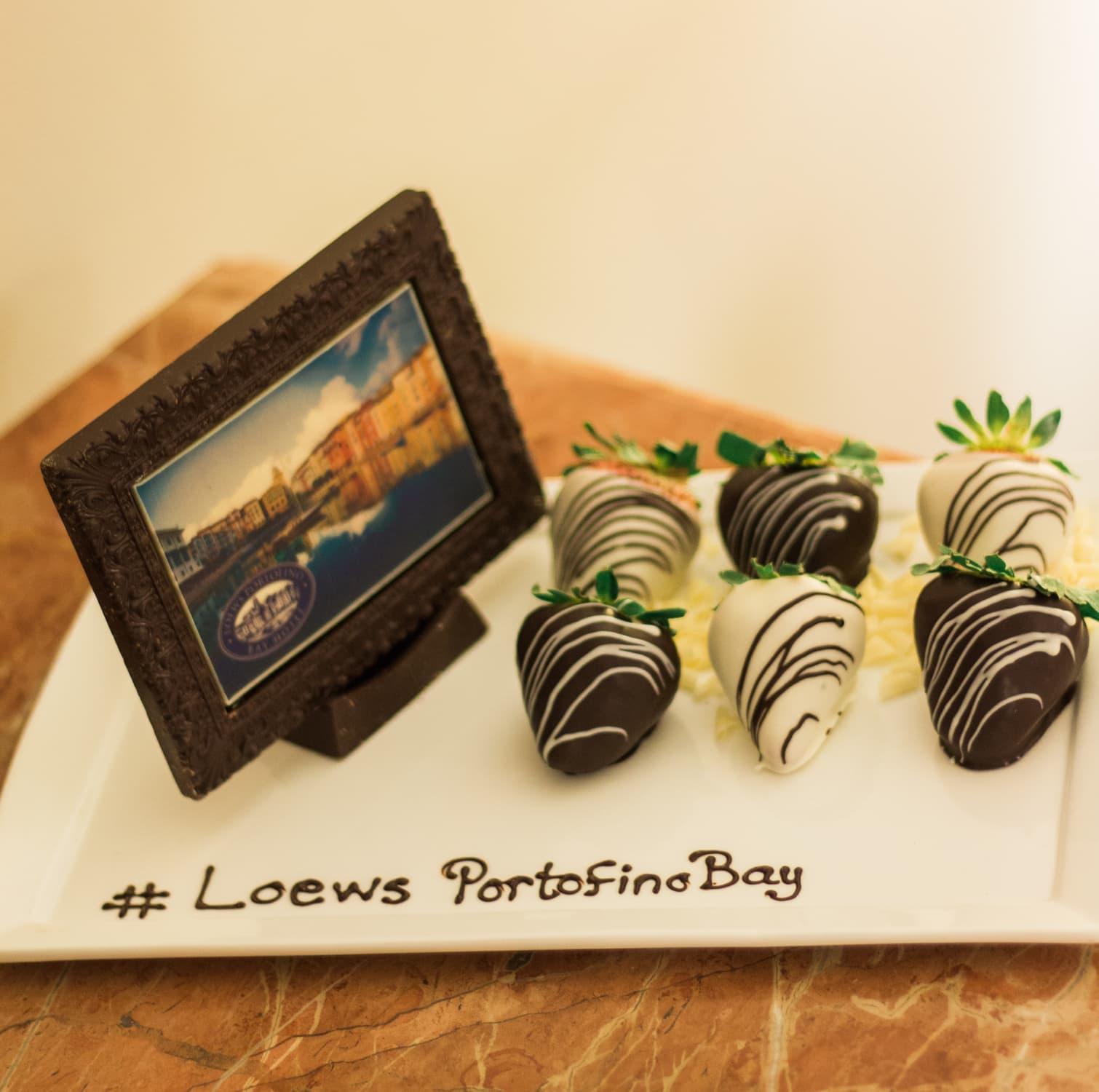 Portofino bay Hotel review orlando florida chocolate strawberries vacation dessert