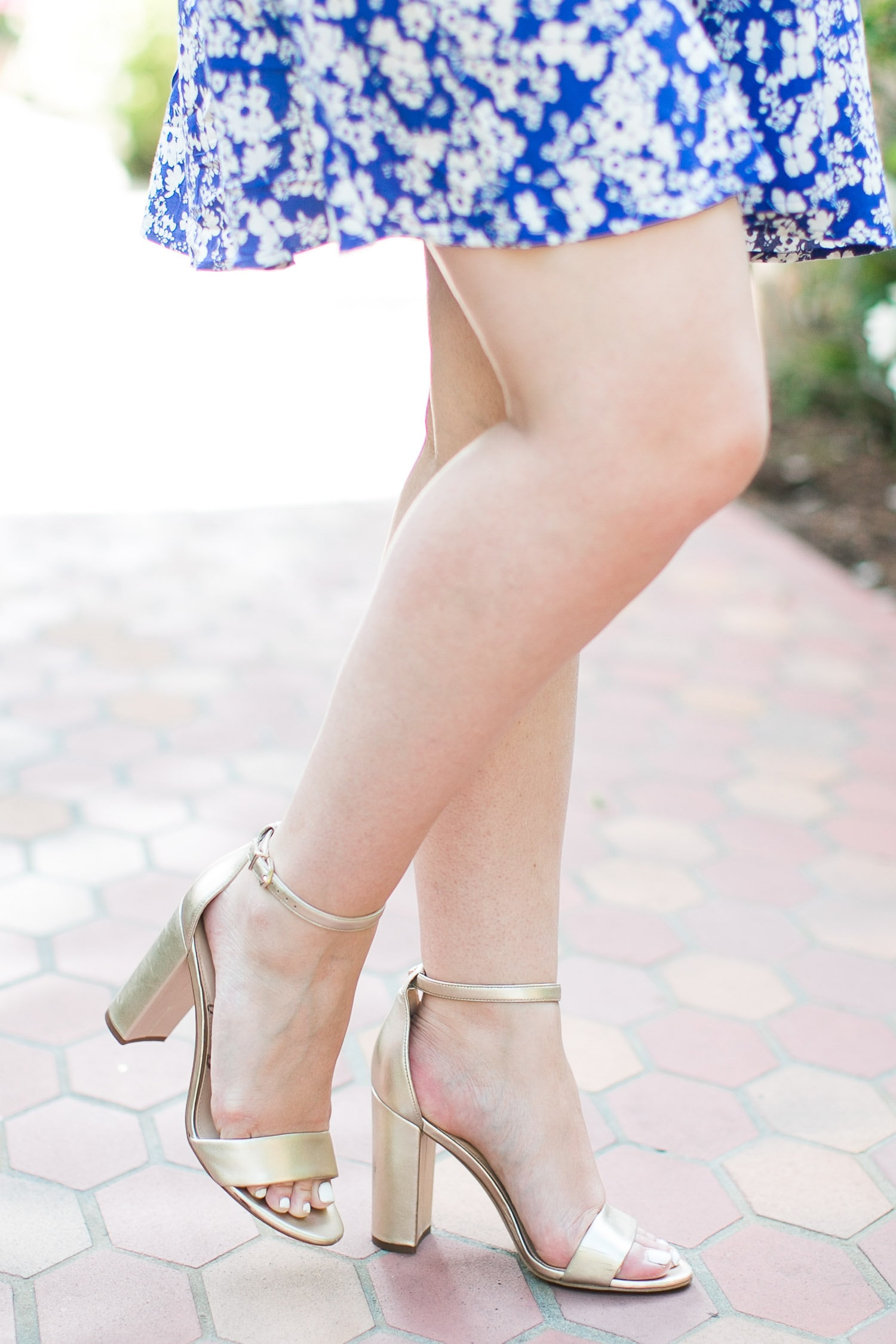 The perfect shoes - Sam Edelman Yaro gold heeled sandals styled by Ashley Brooke Nicholas in a cute summer outfit idea