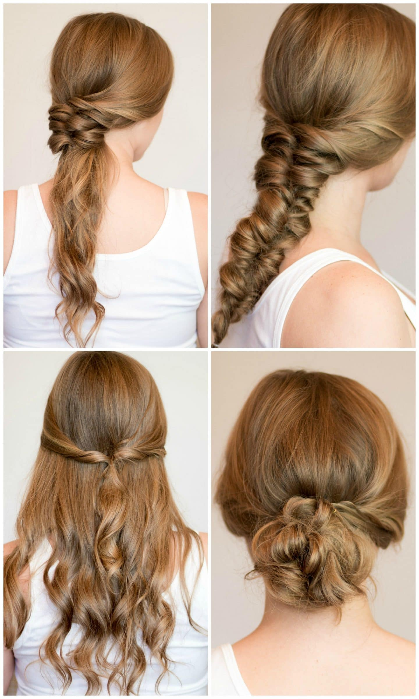 4 Easy heatless hairstyles for long hair that don't require hair styling skills or braiding! Learn how to create a faux braided ponytail, messy faux fishtail braid, twisted half-up, and messy braided bun in these easy hair tutorial by Orlando, Florida beauty blogger Ashley Brooke Nicholas! #MyHCLook sponsored by Hair Cuttery | easy hairstyles, no-heat hairstyle, faux  braids, faux braid tutorial, how to braid your hair, messy bun, fishtail braid, dirty blonde hair, heatless hairstyle tutorial