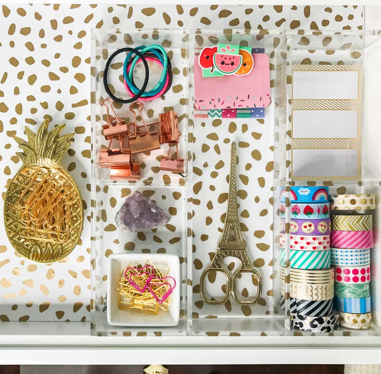 diy spotted drawers gold paint devine color valspar home office tour ashley brooke nicholas cute stationairy