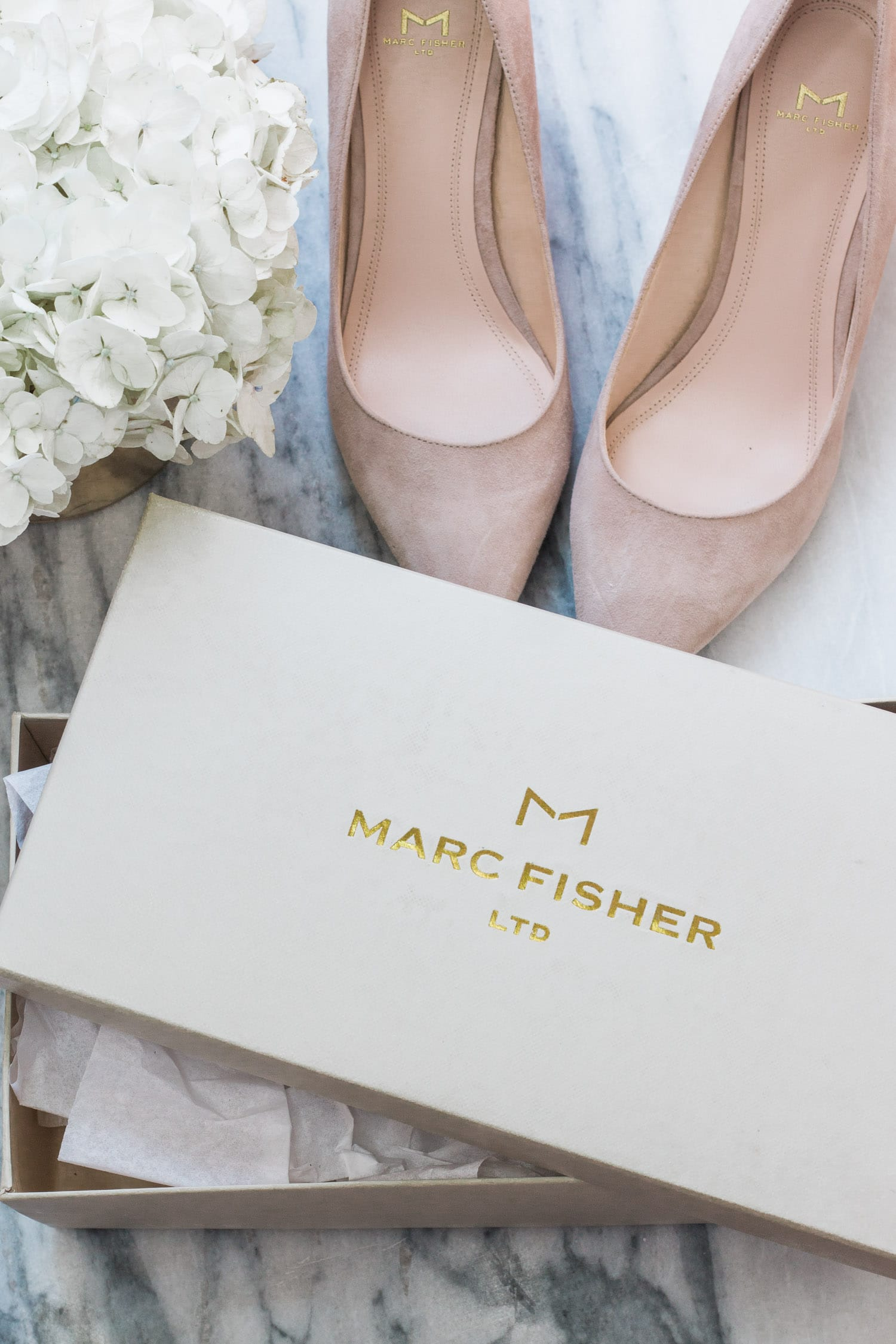 nude marc fisher heels white flowers