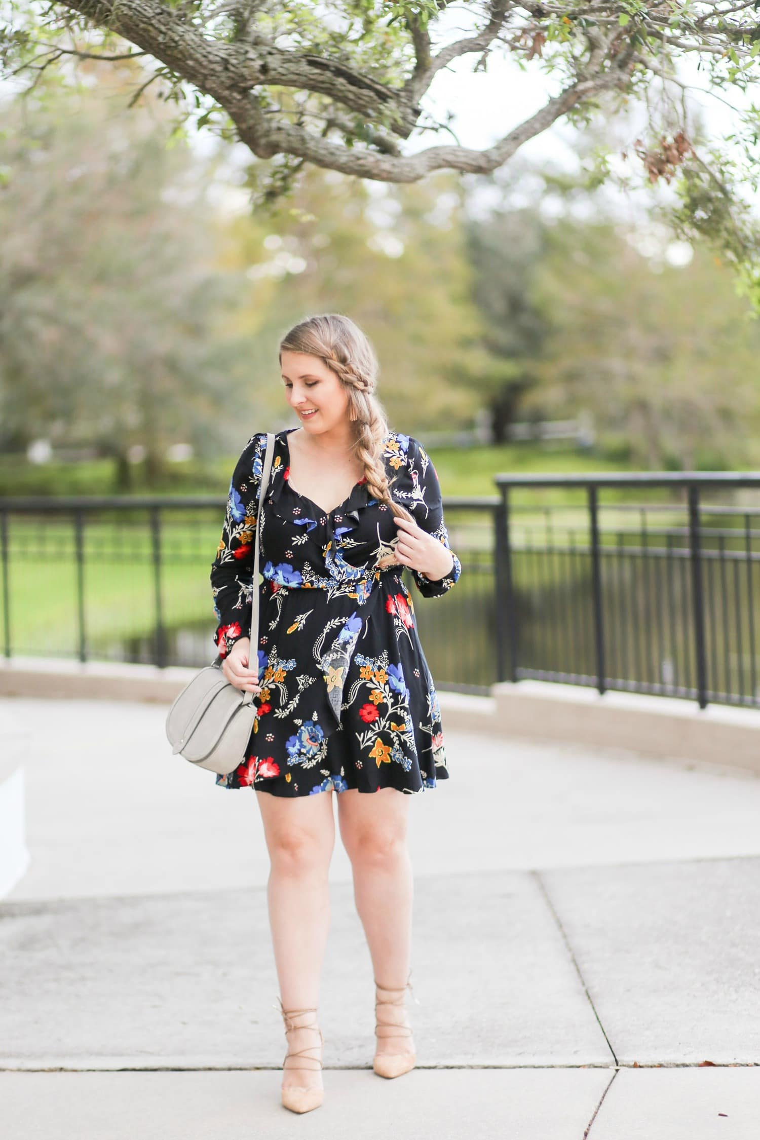 easy side braid tutorial blonde hair black dress nude heels cute braid braid inspiration   Ashley Brooke Nicholas beauty blogger
