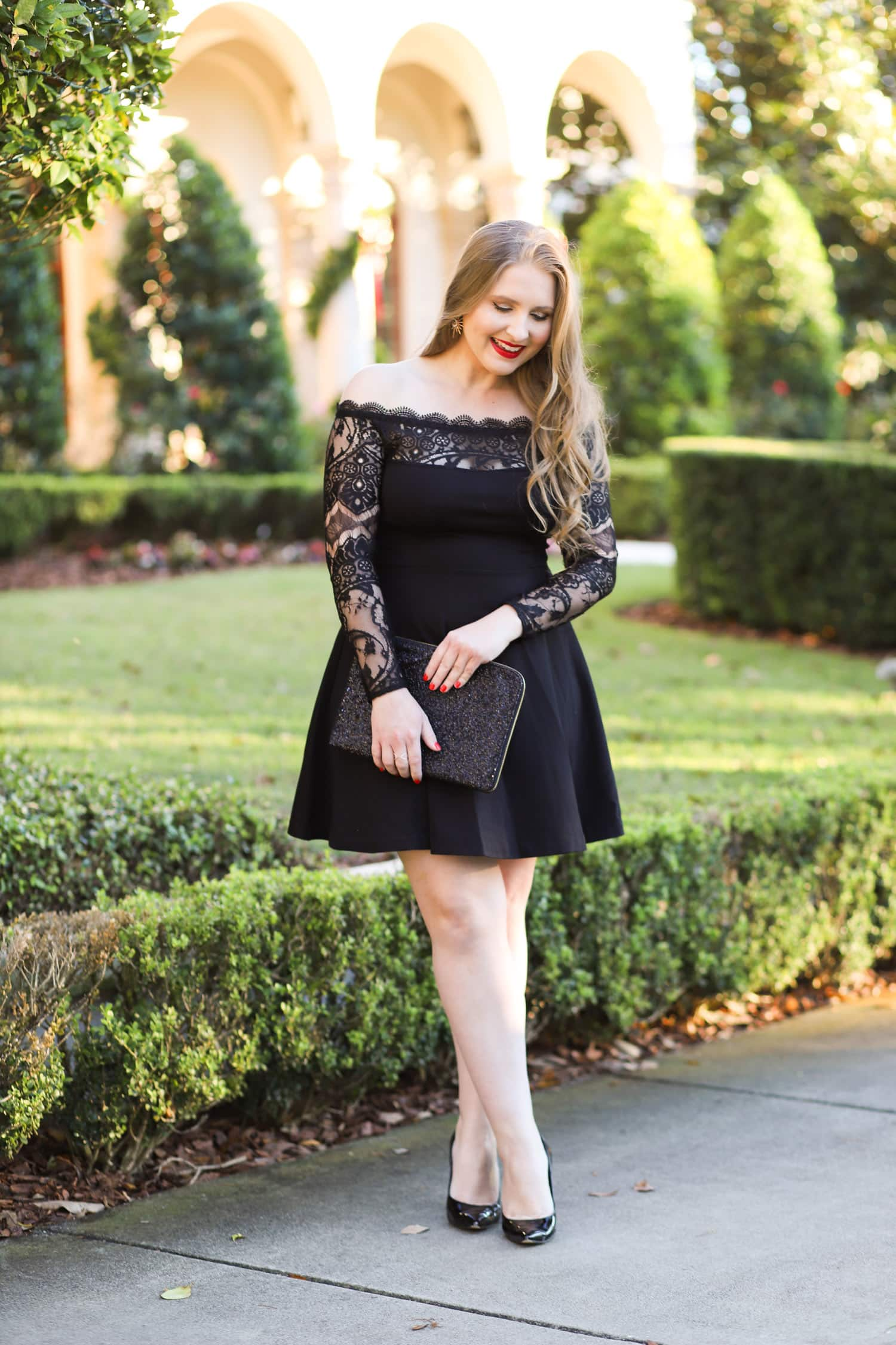 Hair cuttery | Beauty blogger | holiday glamour outfit black dress | Ashley Brooke Nicholas | Holiday outfit ideas | holiday outfits | black lace dress| holiday hairstyles | redken hair