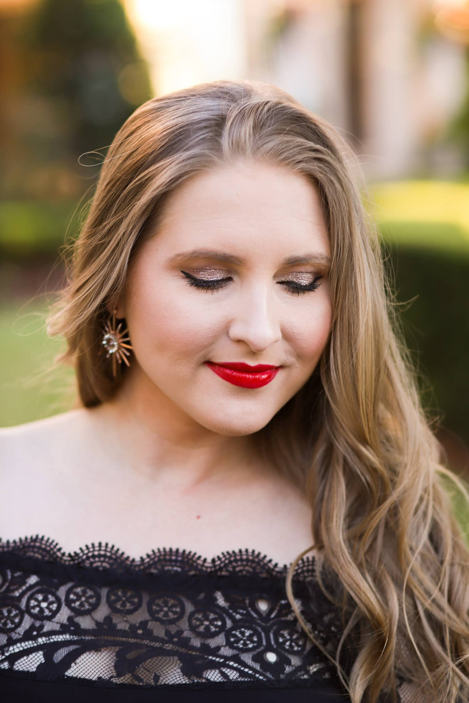 Beauty blogger | holiday glamour outfit black dress | Ashley Brooke Nicholas | Holiday outfit ideas | holiday outfits | black lace dress| holiday hairstyles | redken hair
