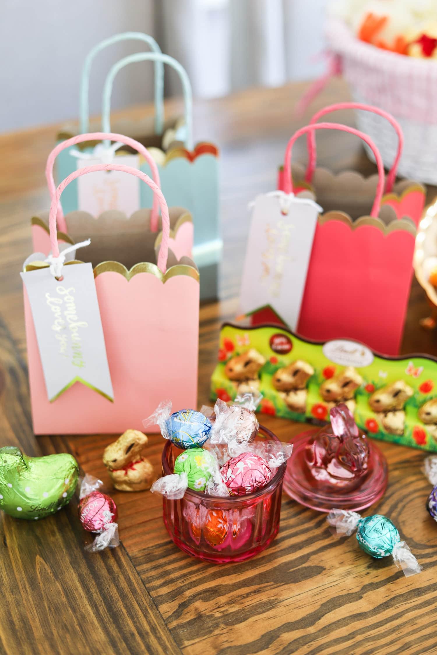 Lindt lindor truffles pink easter bag gold easter bunny lindt party favors for Easter Sunday Easter party