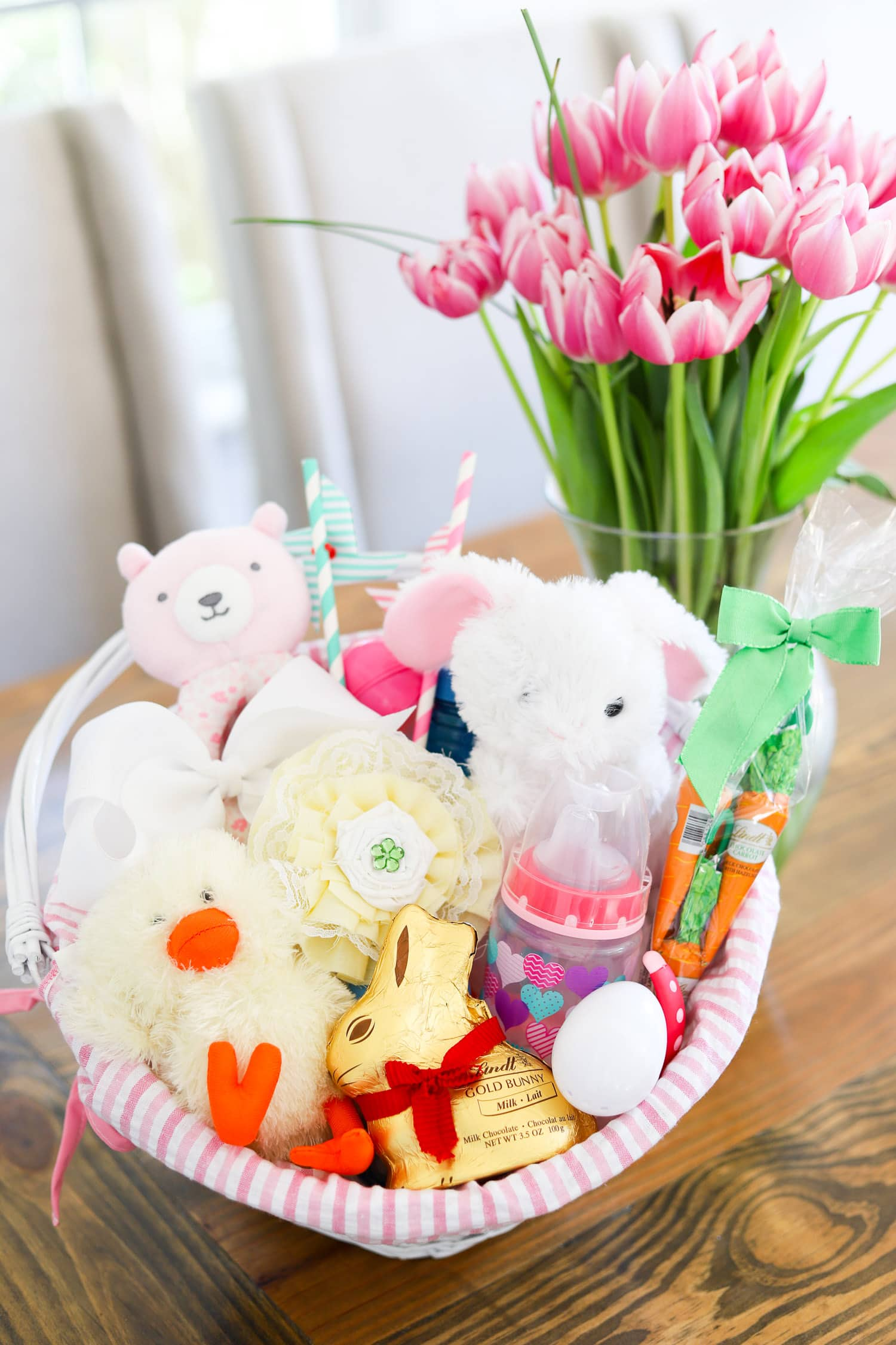 cute-easter-party-ideas-lindt-gold-bunny-easter-bags-easter-presents-lindt-chocolate-for babies and toddlers