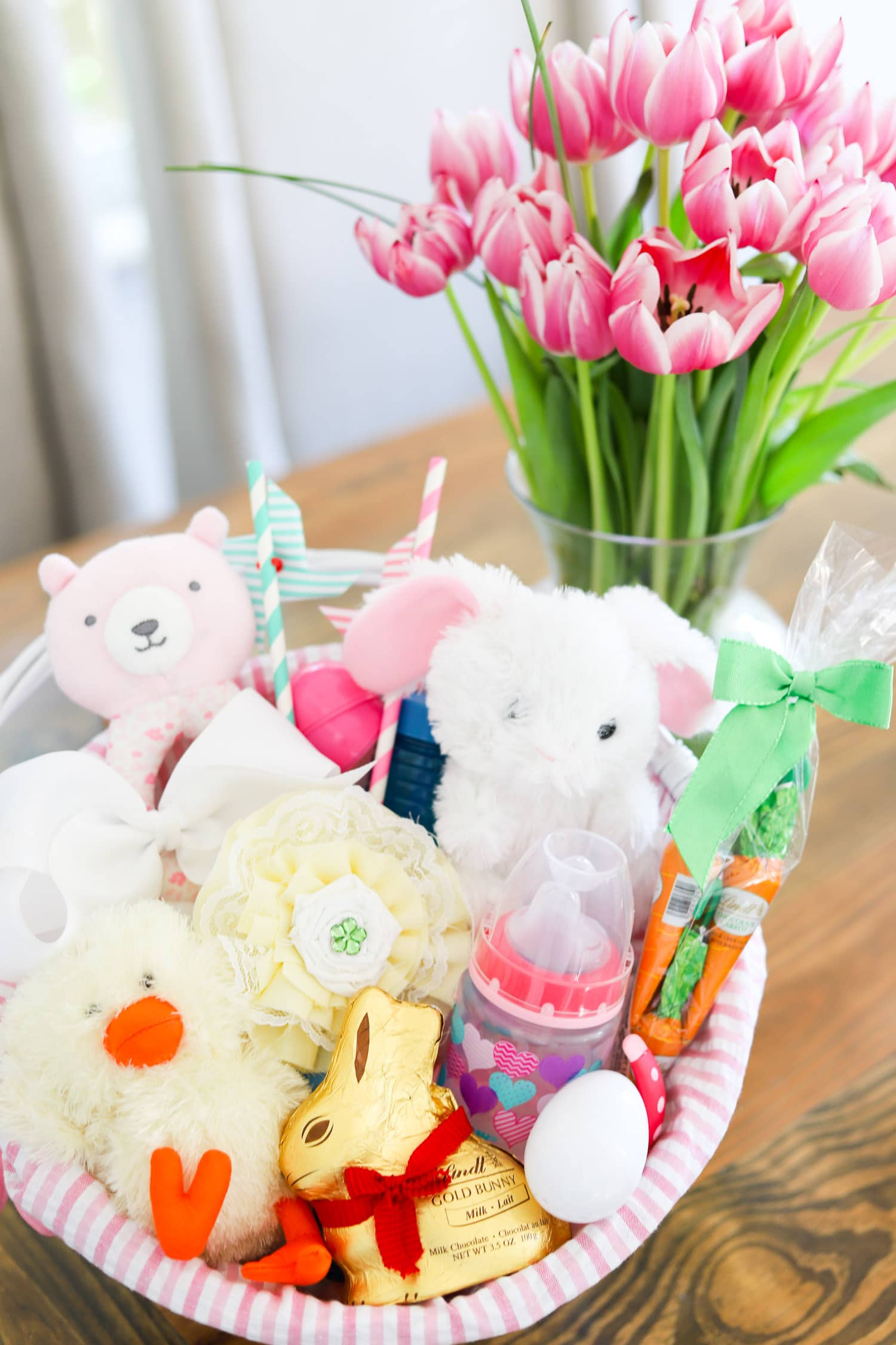 baby's first easter easter gift ideas easter basket for little girls and toddlers pink tulips
