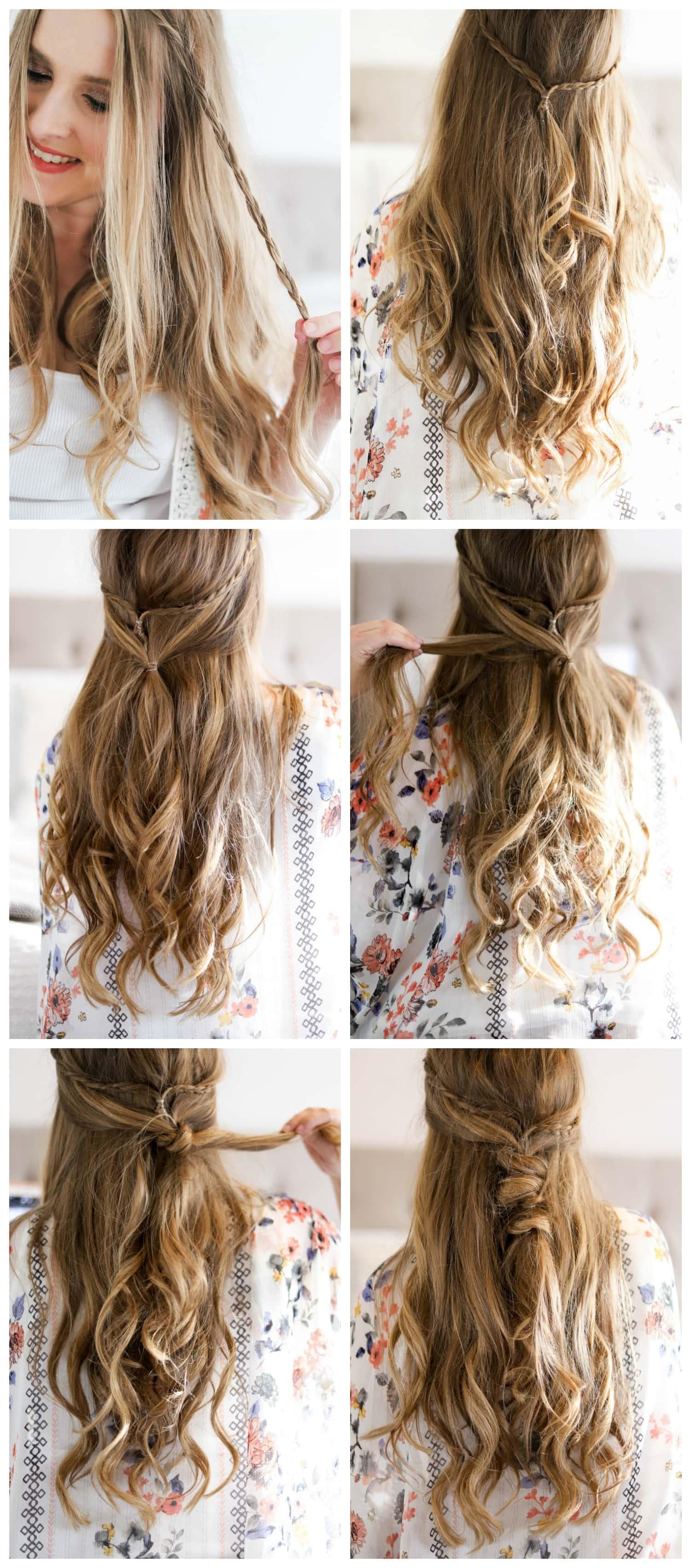 Smiling woman, beautiful easy boho hair tutorial, cute hair tutorial, dirty blonde hair, Ashley Brook Nicholas, Dove dry shampoo