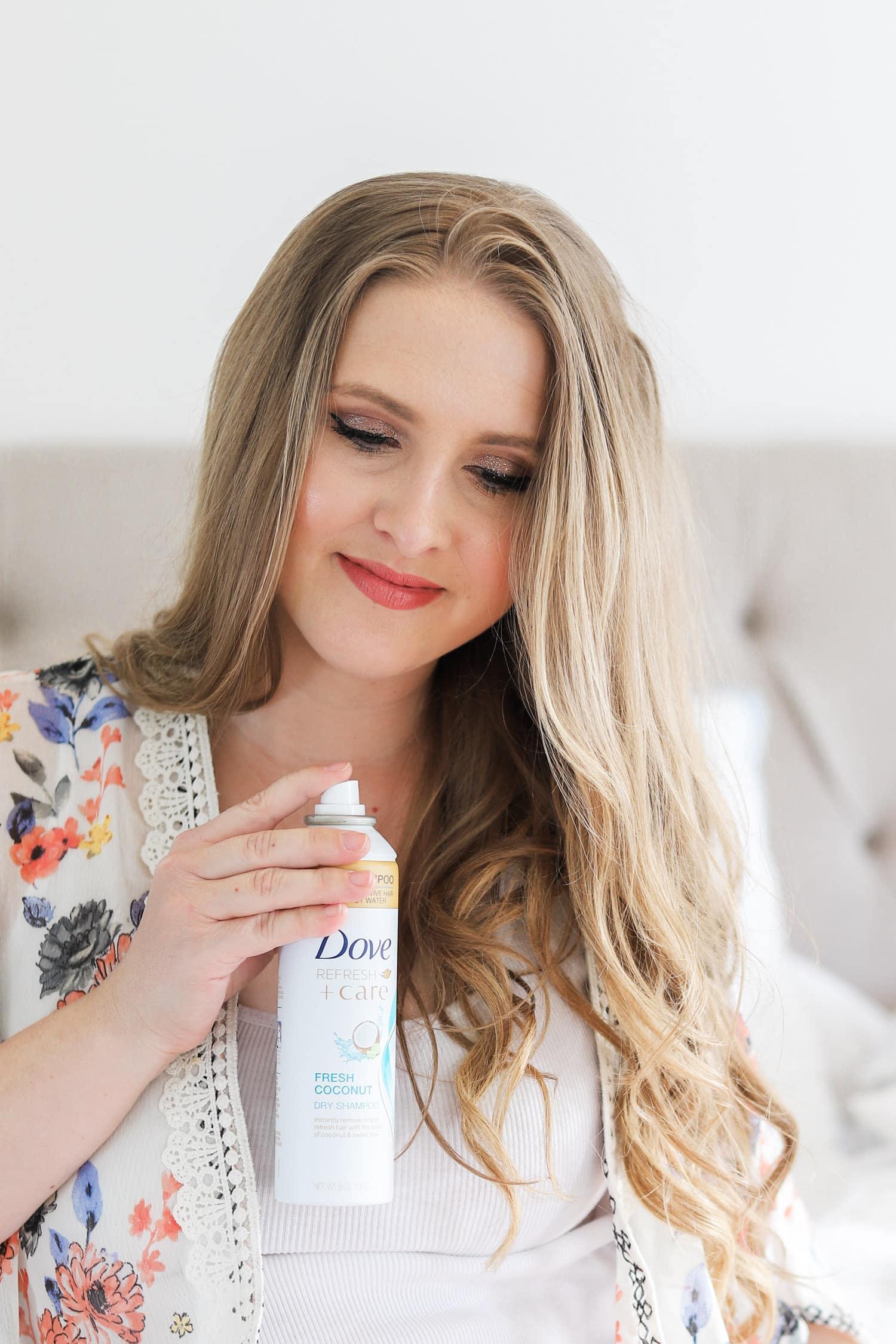 Smiling woman, beautiful easy boho hair tutorial, cute hair tutorial, dirty blonde hair, Ashley Brook Nicholas, Dove