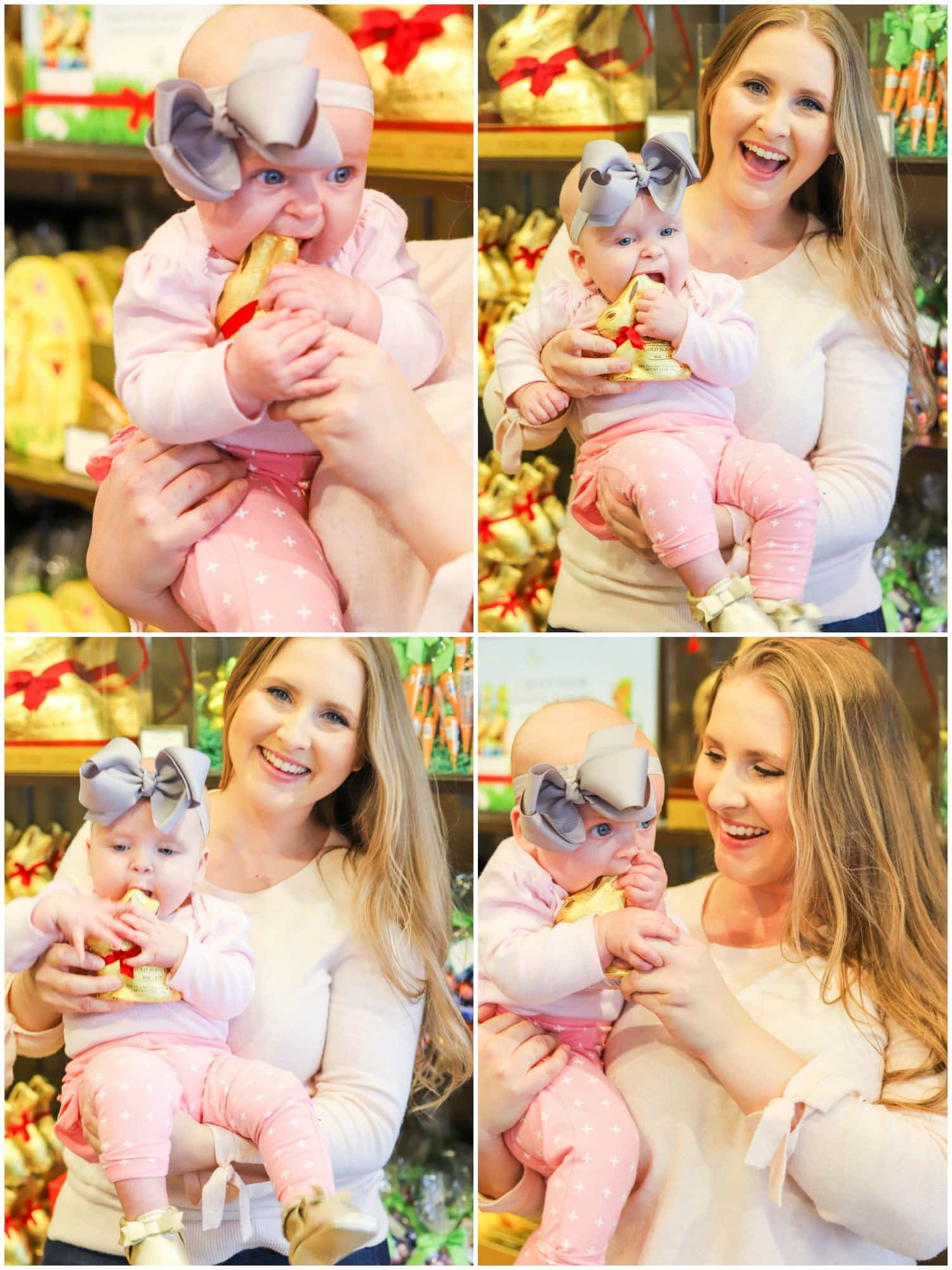 cute baby girl in pink with big bow eating chocolate golden bunny at lindt store with smiling beautiful mom baby's first easter