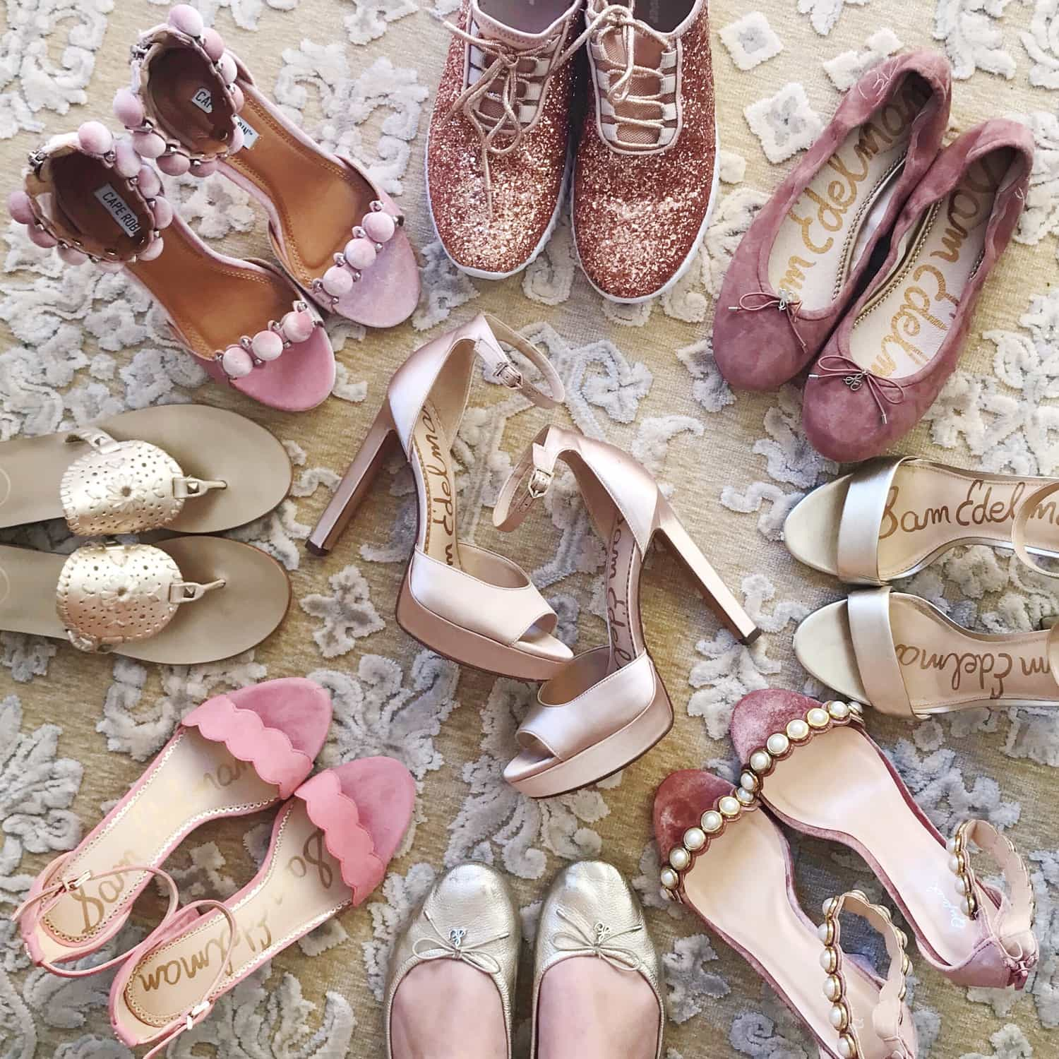 Shopbop sale picks , pretty shoes, high heels, blush and gold high heels