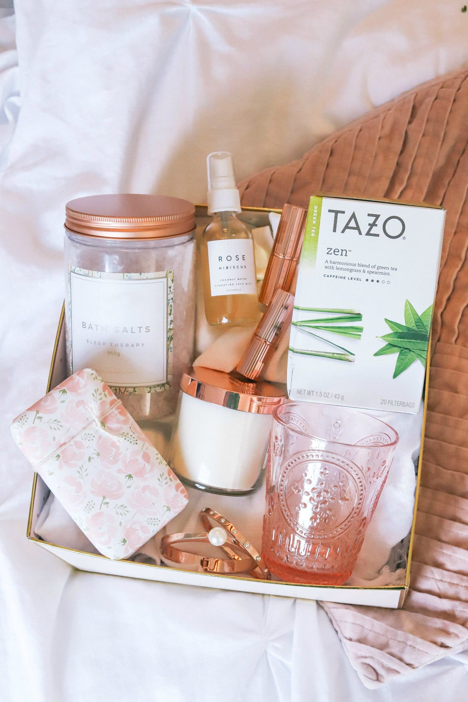 """... get better"""" gift idea for a friend who's going through a hard time and see how I make my favorite iced strawberry green tea spritzers with Tazo Zen tea."""