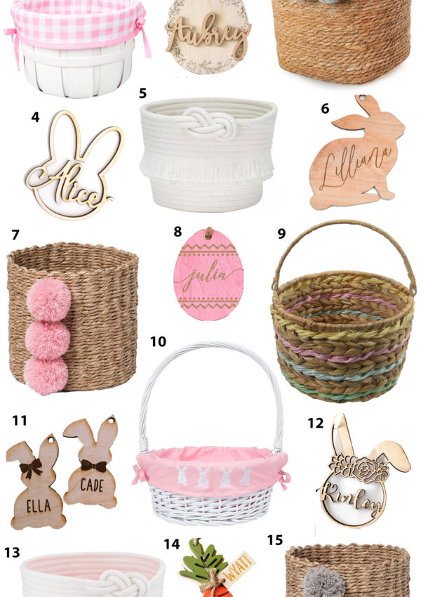 Cute Easter Baskets and Custom Easter Basket Name Tags for Kids