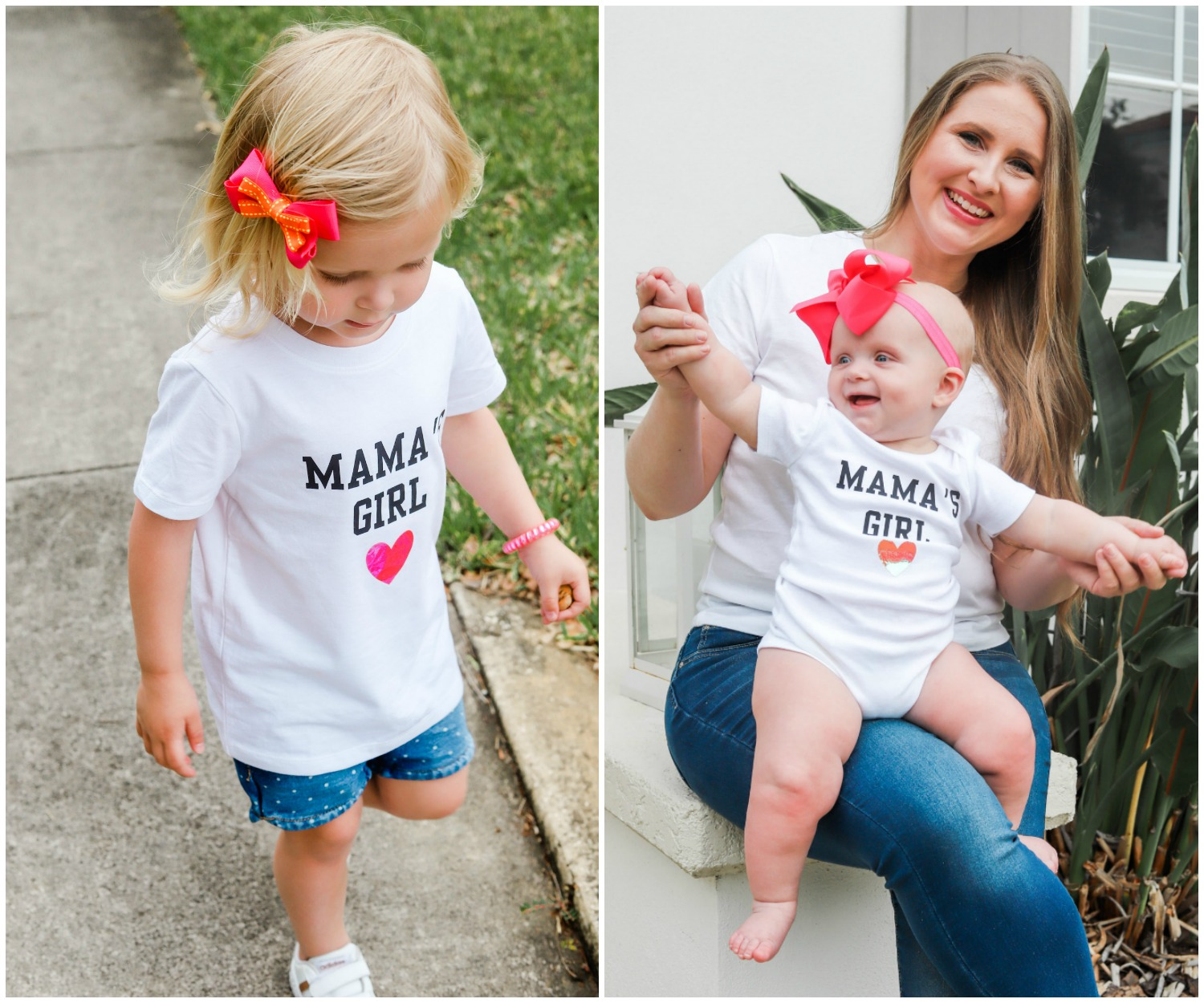 Cute Mama's Girl t-shirt toddler girl and Mama's Girl baby onesie on baby girl + how to make them at home
