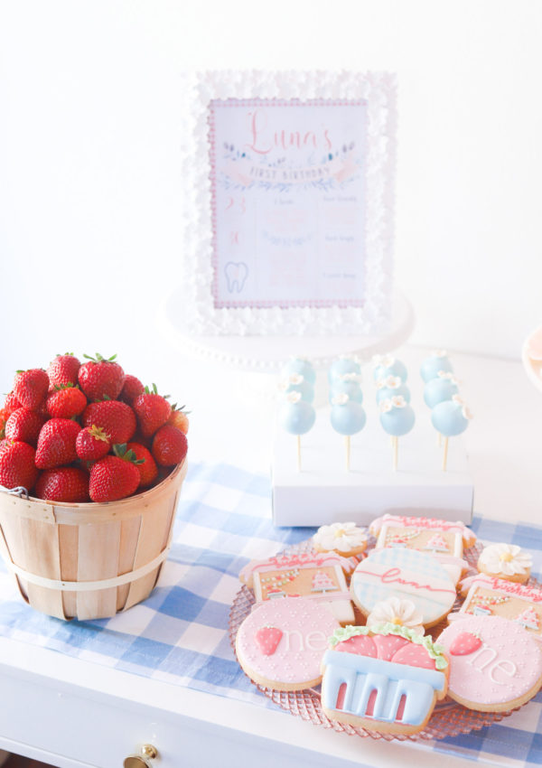 "Strawberry ""Berry"" First Birthday Party Ideas"