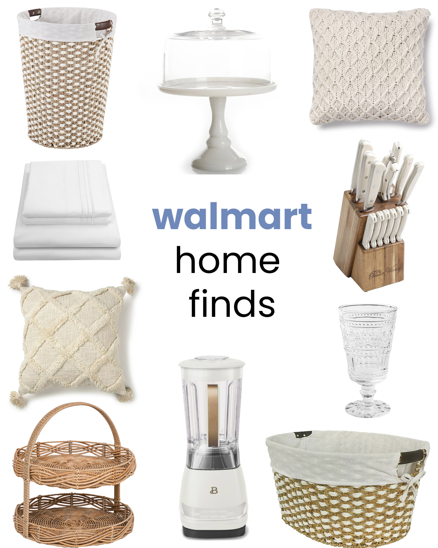 Affordable white and neutral home decor items from Walmart - all under $50!